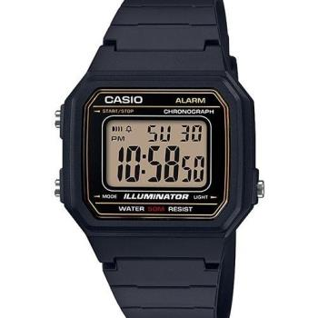 【CASIO】 電力『十』足 個性方形休閒電子錶-黑X黃面金框 (W-217H-9A)