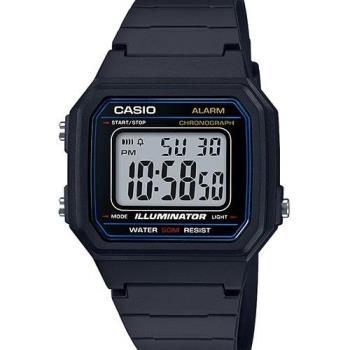 【CASIO】 電力『十』足 個性方形休閒電子錶-黑X白面藍框 (W-217H-1A)