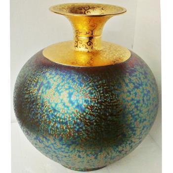 【開運陶源】  (特大大觀瓶)繽紛人生聚寶盆禮品~郭明本錳七彩結晶釉鎏金瓶