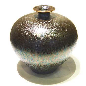 【開運陶源】郭明本錳七彩結晶釉瓷器(小圓球瓶)