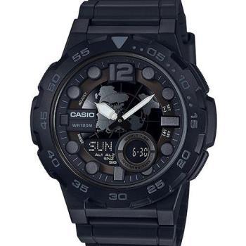 【CASIO】世界時間雙顯錶-黑x銀刻度 (AEQ-100W-1B)
