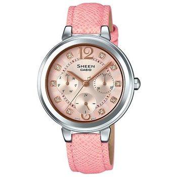 【CASIO 】SHEEN 春夏漾彩粉紅漸變真皮錶帶指針腕錶 (SHE-3048L-4A)