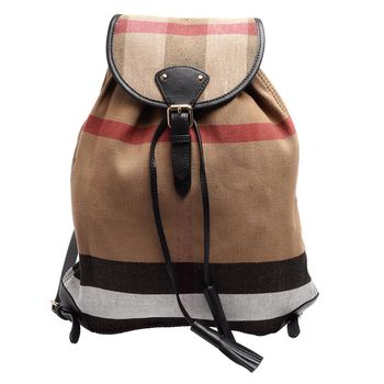 BURBERRY 經典CANVAS格紋帆布牛皮流蘇飾邊後背包(黑色)