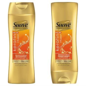 美國知名品牌 SUAVE【角蛋白配方】絲滑洗髮乳/潤髮乳(373ml)*6/箱購