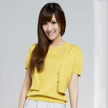 【KIINO】V領-亮燙鑽短版針織外套 1682-黃色