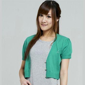 KIINO  V領燙鑽短版針織外套(綠色)
