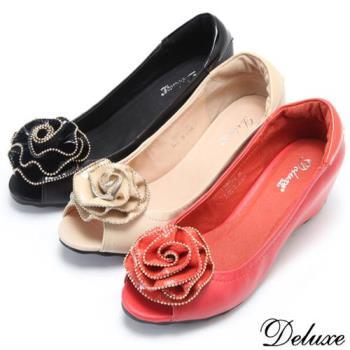 【Deluxe】全真皮典雅歐式浪漫玫瑰內增高魚口包鞋(黑☆米☆紅)-208-2