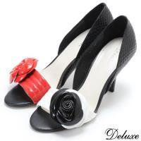 【Deluxe】全真皮名媛時尚玫瑰仿魚口高跟包鞋(白☆紅)-211-1