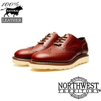 NORTHWEST (TM-7404) 真皮雕花牛津鞋-暗紅