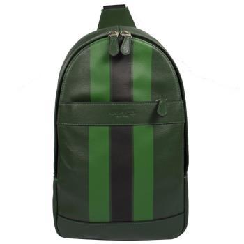 COACH 72226 經典LOGO烙印皮革條紋單背後背包.綠