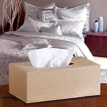 【幸福揚邑】精品歐式花紋皮革磁吸式收納面紙盒/紙巾盒-香檳金