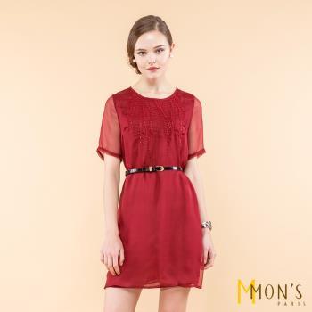 MONS貴氣繡珠造型顯瘦蠶絲洋裝