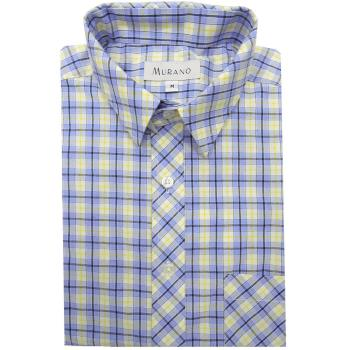 [MURANO]藍白跳色格紋襯衫-藍白色