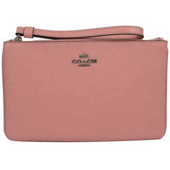 COACH 57465 經典馬車LOGO防刮皮革寬版大手拿包.粉紅