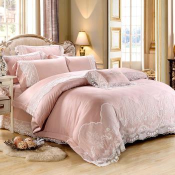 Lily Royal-60支頂級天絲銀纖維 雙人八件式兩用被床罩組-豆沙粉