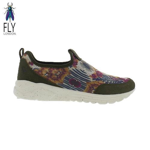 Fly London(女) 藝術花花 彈力布面直套式懶人運動鞋- 綠底花