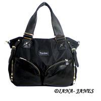 Diana Janes 尼龍帆布配牛皮花朵造型兩用包