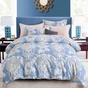 FOCA月清幽 單人100%精梳棉三件式鋪棉兩用被床包組