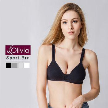 【Olivia】無鋼圈舒棉薄款輕運動內衣(黑色)