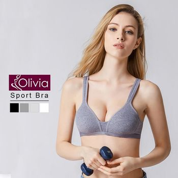 【Olivia】無鋼圈舒棉薄款輕運動內衣(深灰)