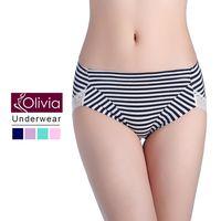 【Olivia】包臀條紋無痕蕾絲棉質中高腰內褲(深藍)