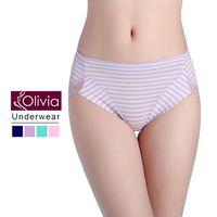 【Olivia】包臀條紋無痕蕾絲棉質中高腰內褲(紫色)