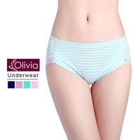 【Olivia】包臀條紋無痕蕾絲棉質中高腰內褲(綠色)
