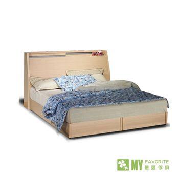 雙子星白橡6呎床頭箱式床台+床墊