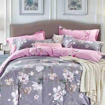 FOCA花間晨露 單人100%精梳棉三件式鋪棉兩用被床包組