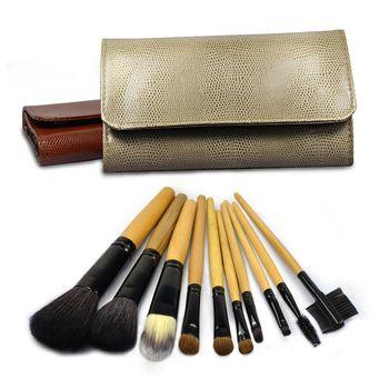 【幸福揚邑】專業彩妝羊毛木柄化妝刷具皮革化妝包10件組-卡其色
