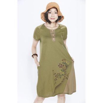 蘭陵自然風水洗棉麻素材洋裝3入