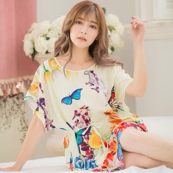 lingling日系 全尺碼-蝴蝶印花軟棉連身洋裝睡衣(香氛米白)A3317-02