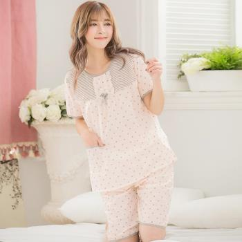 lingling日系 全尺碼-牛奶絲滿版點點短袖二件式睡衣組(溫柔淺桔)A2861-04