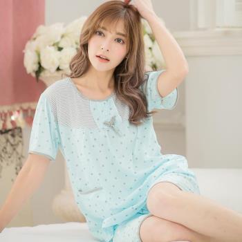 lingling日系 全尺碼-牛奶絲滿版點點短袖二件式睡衣組(清爽藍)A2861-03