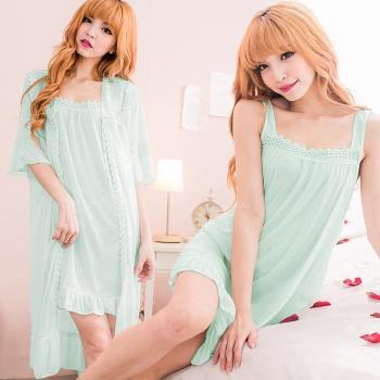 lingling日系 全尺碼-冰絲編織領寬肩帶連身睡衣+蕾絲罩衫睡袍(甜藍綠)A2396-01