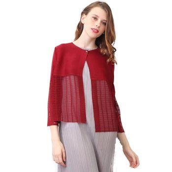 玩美衣櫃 時尚百搭酒紅色長袖壓摺罩衫外套