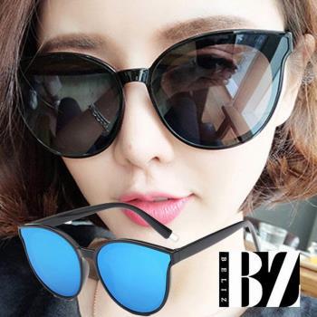 BeLiz透視眼神 微貓眼膠框墨鏡 黑框藍