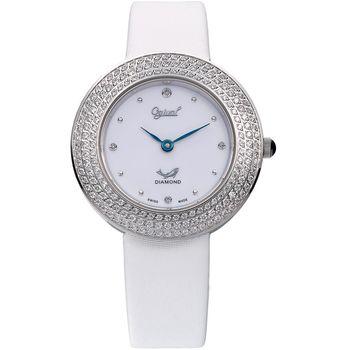 Ogival愛其華-皎月系列 超薄珠寶真鑽腕錶(28mm)-氣質白