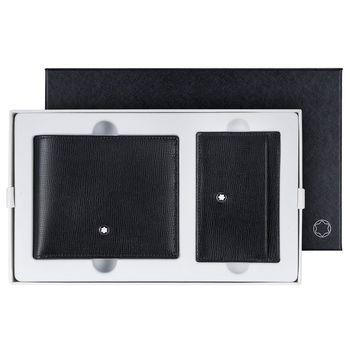 MONTBLANC 萬寶龍牛皮壓紋6卡短夾+3卡卡片夾禮盒 116841.SET