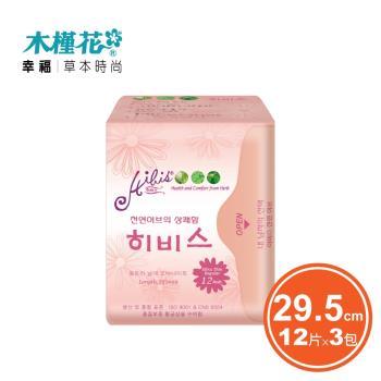 HIBIS木槿花 草本衛生棉-3D超薄瞬潔夜用29.5cmx12片x3包