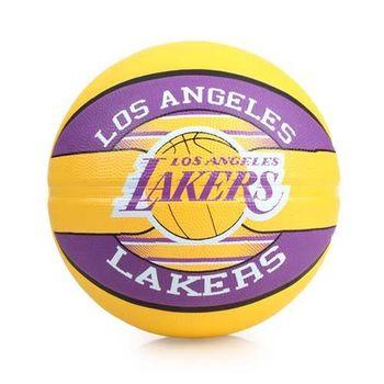 SPALDING 湖人 LAKERS  籃球-戶外 NBA 隊徽球 斯伯丁 紫黃