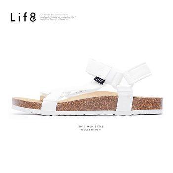 Life8 - Casual 織帶 牛皮墊 可調式記憶涼拖鞋-白色-09625