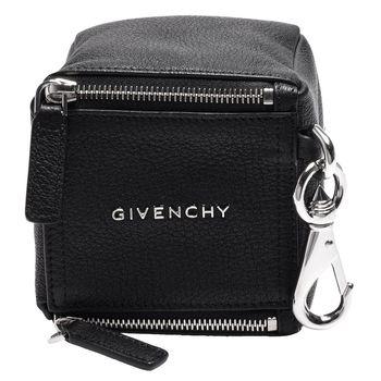 GIVENCHY PANDORA系列品牌字母金屬鑲嵌立方體造型山羊皮零錢/吊飾包(黑)