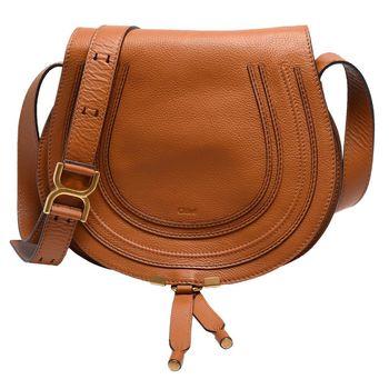CHLOE Marcie Crossbody Bag小牛皮斜背馬鞍包(中-芥末棕)