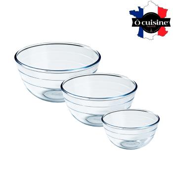 法國O cuisine 歐酷新烘焙-百年工藝耐熱玻璃調理盆-24+21+16組