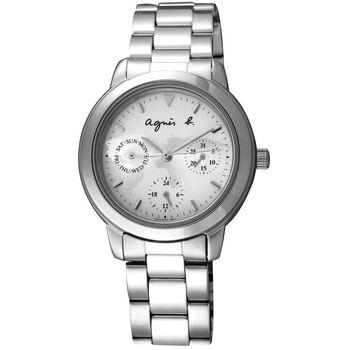 agnes b. 率性自然 世界地圖三眼腕錶(銀/32mm) V33J-0010C