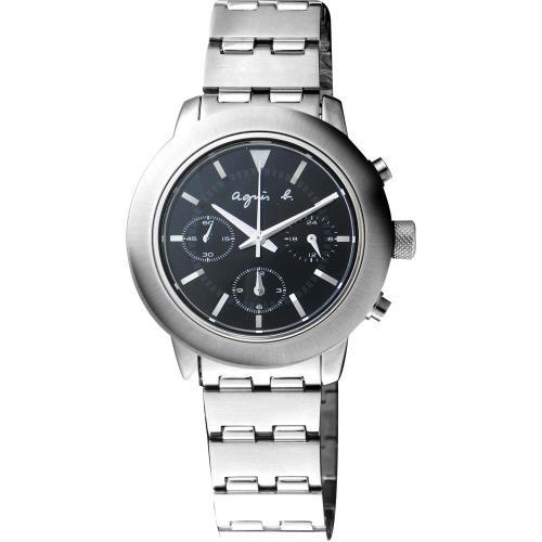 agnes b. 法國人文風尚三眼腕錶-黑/37mm/7T11-0AN0D