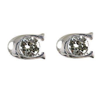 COACH 54498 時尚配件C LOGO鑲鑽耳環.銀