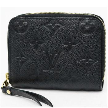 LV M60574 經典花紋全皮革壓紋信用卡零錢包.黑 現貨