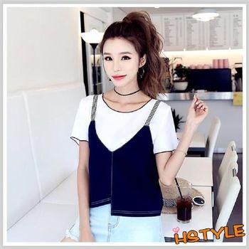 雪紡上衣 兩件式條紋質感短袖雪紡衫NG6987-創翊韓都